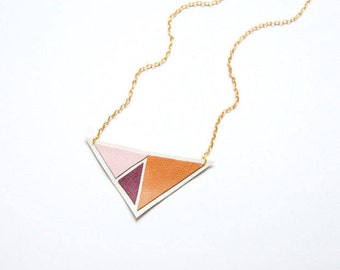 Leather Triangle Geometric Necklace - Pastel Prism / Plum Delight - Ready to Ship