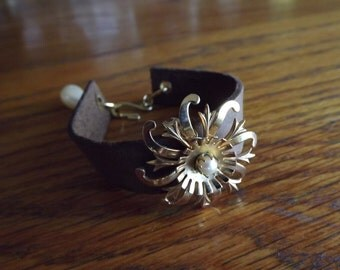 LEATHER CUFF Bracelet, hand cut leather with repurposed vintage Brooch attached as the Center Piece