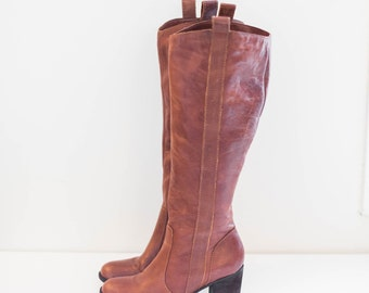 brown leather knee high riding boots - high fashion heel boots - women's size 9.5