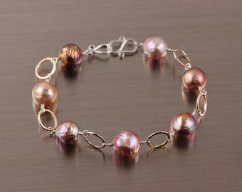 Kasumi Like Edison Pearl Bracelet, Mixed Metal, Hammered Chain, Wire Wrapped, Gold Filled Silver, Bronze Metallic Pink Lavender