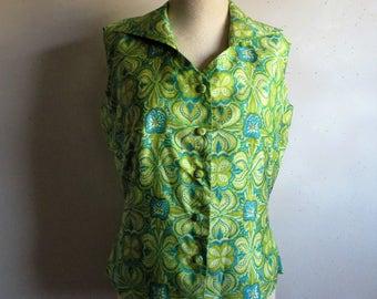 Vintage Green 60s Vest Womens Sleeveless Teal Button Down 1960s Shantung Blouse Medium