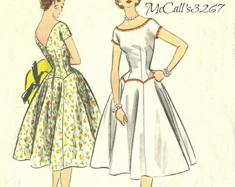 McCall's 3267 Dress Pattern with Fitted Bodice 1950s Size 12 Bust 30