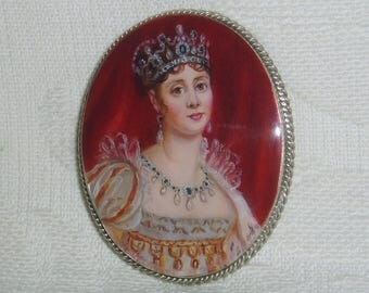 """Lacquer brooch Mother of pearl """" Empress Josephine """" miniature Hand Painted Pin"""