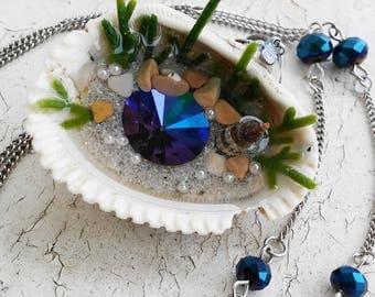 Mermaid Crystal Purple Blue Flash Seashell Resin Pendant Jewelry Necklace