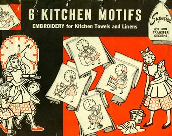 Superior 132 Embroidery Transfers for Kitchen Towels and Linens HOT IRON TRANSFERS Busy Mom with Full Day of Activities