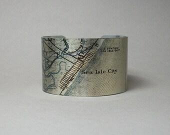 Sea Isle City New Jersey Shore Map Cuff Bracelet Unique Custom Gift for Men or Women