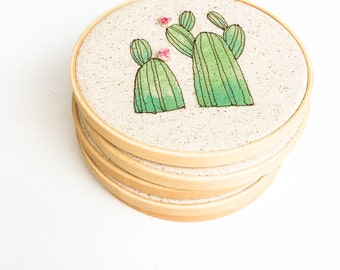 Hoop Art Hanging, Jungalow Home Decor, Cactus Hoop Art, Greenery Embroidery, Jungalow Style, MADE TO ORDER