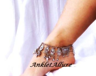 Crazy Lady Belly Dance Anklet Jangle Body Jewelry Silver Ankle Bracelet Bell Foot Jewelry