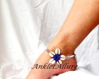 Cowrie Flower Anklet Beach Ankle Bracelet Purple Anklet Flower Anklet Beach Body Jewerly