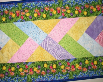 French Braid Table Runner, Floral, Spring, quilted, Summer, table linens