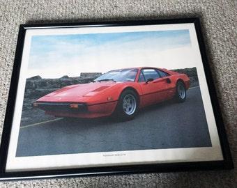 Vintage 1980s Ferrari 308 GTB Sports Car Art Poster Print Framed Red Car Black Frame
