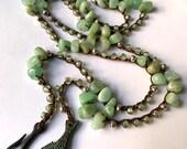 Aqua beaded crochet necklace or wrap bracelet, mother's day gift, semi precious, spring, bohemian jewelry, crochet jewelry, coffycrochet