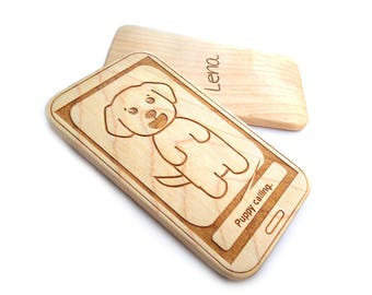 Baby toddler toy puppy calling wood phone