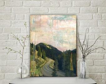 "Colorado Art 12x16"" Original Mixed Media Art, Mixed Media Photography, Mixed Media Painting, Mountain Art, Aspen CO Art, ""Road to Aspen"""