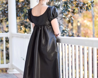 Regency Dress, Jane Austen Ball Gown, Early 19th Century, Black Taffeta, Misses Size 8