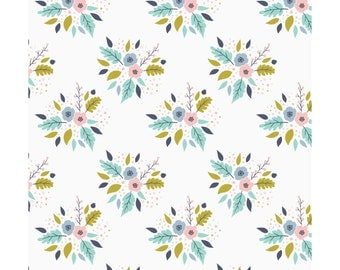 Bouquet in White  2144104-1  - MEADOW  - Camelot Cotton Fabrics - By the Yard