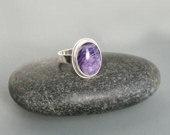 Charoite Sterling Silver Ring Sleek Modern Design