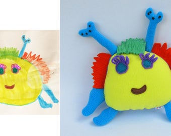 Custom plush made from children art Drawing into stuffed toy Nursery decor - MADE TO ORDER