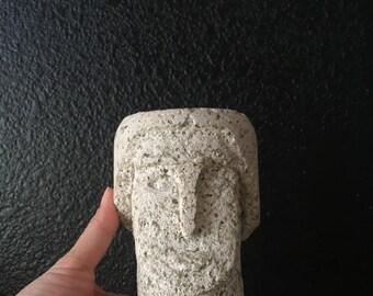 carved limestone man head / male sculpture / figurine