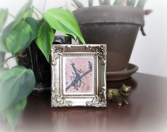 Mini Framed Mantis Print - Mantis on Wild Blue Chicory in Ornate Frame