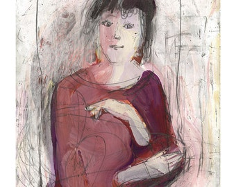 Woman art painting illustration portrait face original people figurative ooak