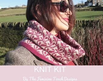 Accessory Knitting Kit , Pattern & yarn to knit own feminine wool cowl , fair isle chart  , 100% wool - Yarnstories , intermediate knitter
