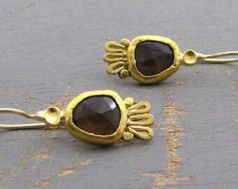 Smoky Topaz Gold Earrings - 24k Gold Earrings with Smoky Topaz -  Ethnic Gold Earrings