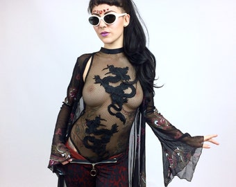 Vintage 90s Asian Dragon Sheer Robe Boho Rocker Cardigan Duster Jacket with Flare Sleeves and matching booty shorts set // S - L