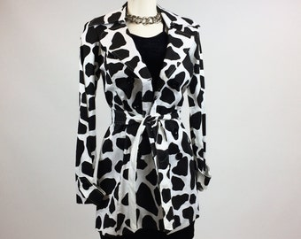 90's XOXO Cow Print Black & White Trench Jacket // S