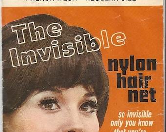 Vintage Venida The Invisible Black Nylon Hair Nets, 1960s