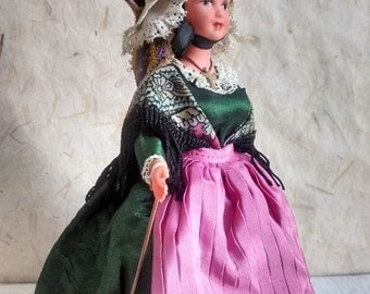 French Normandy costume doll, folk doll, vintage, France, vintagefr, Saint-Lô, Petitcollin, Marylise