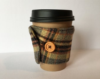 Coffee Cozy- Plaid Cotton Flannel Coffee Cup Sleeve- Grey, Black and Brown Flannel Reusable Coffee Sleeve