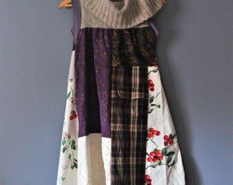 Sweater  Cowl Neck Patchwork Tunic Dress/Upcycled Clothing/Womens Tunic Dress/Rebirth Kanji