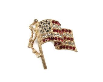 American Flag Rhinestone Brooch, Signed NAPIER, Vintage Jewelry, 4th of July, Vintage Brooch, Flag Pin, Crystal Flag Brooch