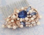 Rose Gold ,Silver Boho Headpiece,Sapphire crystal Wedding comb,Rose gold hair vine,Wedding hair comb,Pearl hair accessoy,Rhinestone hari