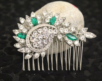 Wedding hair comb,Emerald crystal Bridal hair accessories,Wedding headpiece,Bridal hair clip,Rhinestone hair accessories,Wedding comb,Bridal