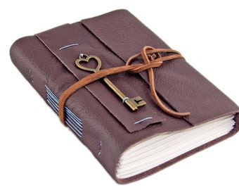 Brown Leather Journal with Lined Paper and Key Heart Key Charm - Journal - Ready to Ship - Prayer Journal -