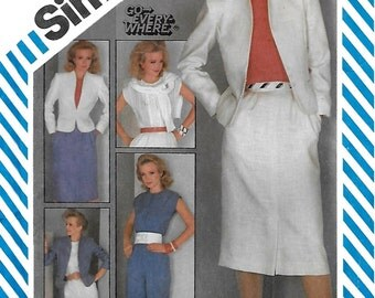 Simplicity 6272 Misses 80s Go-Everywhere Pants, Slim Skirt, Lined Jacket and Top Sewing Pattern Size 20 Bust 42