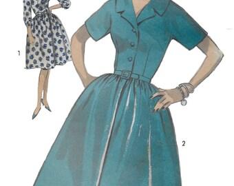 Advance 2981 Women 60s Full Half Size Shirtwaist Dress Sewing Pattern Size 14 1/2, Size 16 1/2 Bust 37 & 39