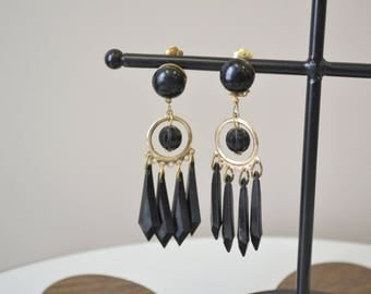 1960s Black and Gold Dangle Clip Earrings