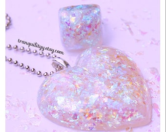 Glitter Heart Necklace, Cellophane Iridescent Glitter Puffy Resin Heart Necklace, Free Ring, Handmade By: Tranquilityy