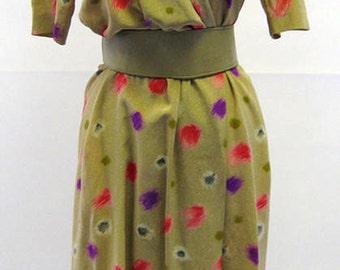 Original Vintage Christian Dior Pure Silk Golden Brush Print Tea Dress UK Size 10/12