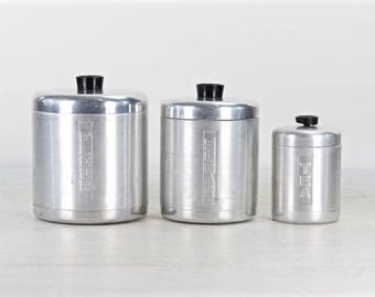 Aluminum Canister Set, Mid Century Canister Set, Flour Sugar Tea Canister Set, Aluminum Canisters, Mid Century Decor,  1950's Canister Set