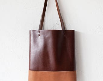 Xmas in July SALE Camel & Brown Leather Tote bag No.TO-103