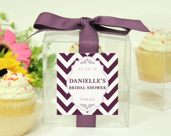 8 - Bridal Shower Favor Cupcake Boxes - Chevron Design - ANY COLOR - Baby Shower Favors | Wedding Favors | Cupcake Favors | Personalized Box