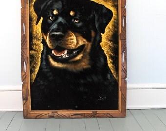 Huge Mans Best Friend... Vintage Black Painted Velvet Rottweiler, Wood Frame, Dog , Wall Decor