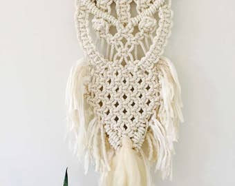 Macrame Owl Wall Hanging White Nursery Decor