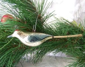 Vintage Bird Christmas Ornament Spun Glass Tail Hanging Bird Decor Holiday Decor 1990s