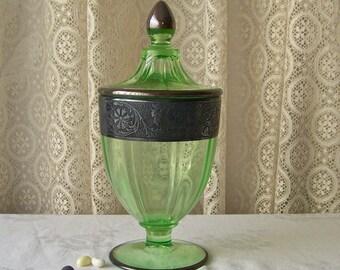 Antique Vaseline Glass Candy Jar Sterling Silver Overlay ca 1910