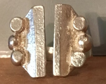 CLAMP STERLING SILVER Modernist Fun Open Band Ring Size Adjustable